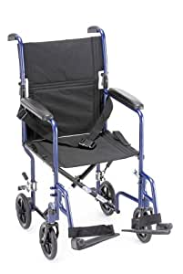 "NOVA Medical Products 19"" Steel Transport Wheelchair, Blue"