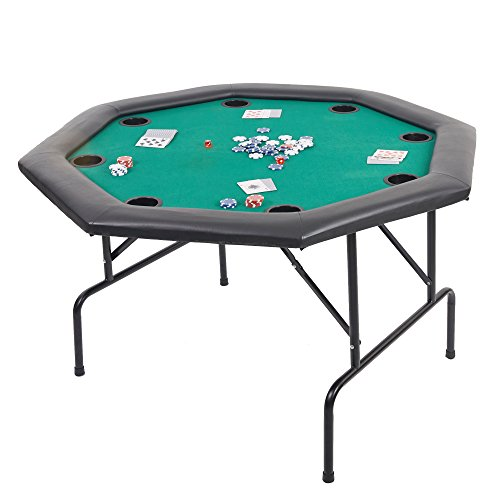 Livebest Foldable Texas Holdem Poker Table with Cup Inserts Metal Steel Leg for 8 Player Card Game Table Green Speed Felt Cloth,48 inch Octagon