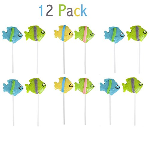 """- 2"""" Tropical Fish Lollipops - Pack of 12 Assorted Fruit-Flavored Candy Suckers for Party Favors, Cake Decorations, Novelty Supplies or Treats for Halloween, Christmas, Baby Showers by Kidsco"""