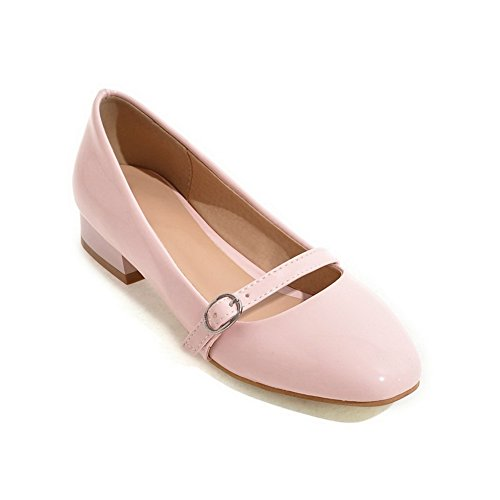 Balamasa Girls Chunky Heels Zapatos Con Punta Cuadrada Low-cut Up Imitated Leather Pumps-Zapatos Pink