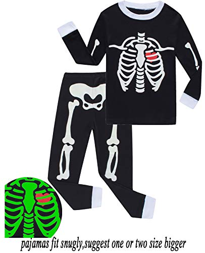 Babyroom Boys Cotton 2 Piece Halloween Skeleton Glow in thedark Costumes Toddler Pjs 5T
