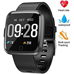 Fitness Tracker, Smart Watch with continuous Heart Rate Sleep Monitor, IP67 Waterproof Fitness Watch, Big Color Screen Activity Watch with Blood Pressure, Calorie Counter Pedometer for Kids Women Men