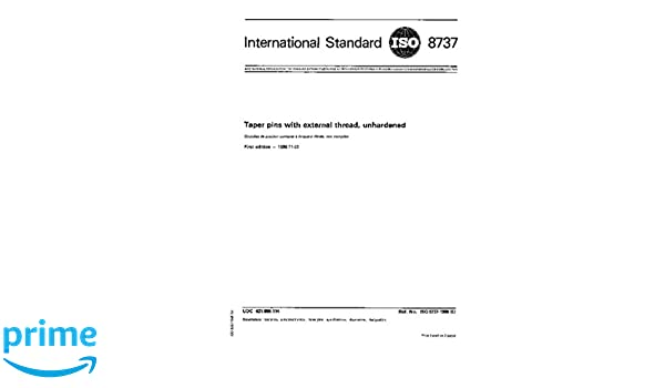 ISO 8737:1986, Taper pins with external thread, unhardened: ISO TC 2