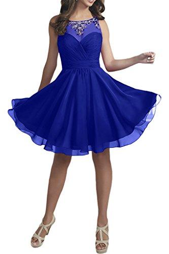 Ballkleider Abendkleider Festlichkleider Royal Braut Kurz Perlen Blau Damen Cocktailkleider La Chiffon Knielang mia wvY1xwa0