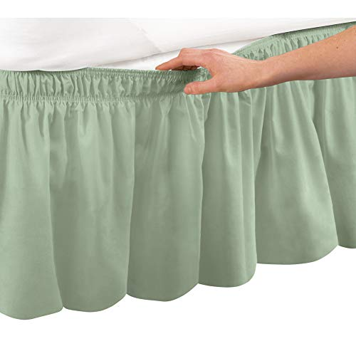 Collections Etc Wrap Around Bed Skirt, Easy Fit Elastic Dust Ruffle, Sage, Queen/King
