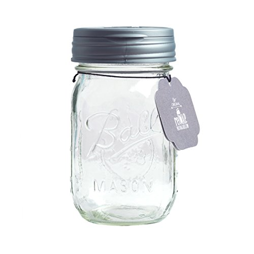 reCAP Mason Jar Flip Lid on Pint Jar, Regular Mouth, Clear/Silver