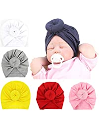 Newborn Baby Toddler Cotton Hat Baby Girl Knotted Hat Cute Donut Soft  Turban Bow Cap Set 8e571604022e