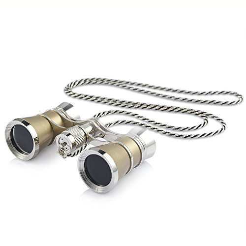 Uarter Opera Glasses Theater Vintage Binoculars with Chain Necklace champagne-Silver by Uarter