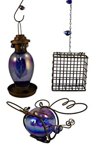 (Closeout) 3 Piece Outdoor Hummingbird Feeder Set