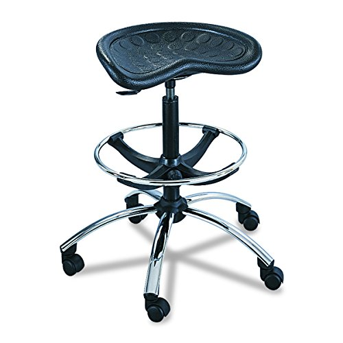 (Safco Products SitStar Stool 6660BL, Black, Chrome Base, Height Adjustable, Tractor-shaped Seat)