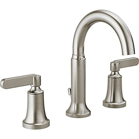 Delta Alux Spotshield Brushed Nickel 2 Handle Widespread Bathroom