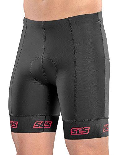 SLS3 Triathlon Men`s Tri Shorts | 4 Pockets | Black | FRT 2.0 | Swim-Bike-Run | German Designed (Black/Red Constellation, L) (Short Triathlon)