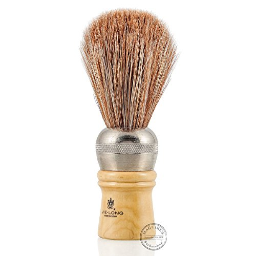 Vie-Long 04312 Professional Horse Hair Shaving Brush, Metal/Wooden Handle