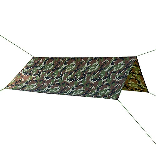 HYOUT 10x10 Waterproof Hammock Rain Fly,Lightweight Camo Tent Tarp Shelter for Picnic Camping Hiking Fishing with Drawstring Carrying Bag ()