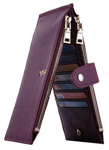 Travelambo Womens Walllet RFID Blocking Bifold Multi Card Case Wallet with Zipper Pocket (CH Red Wine 2393)