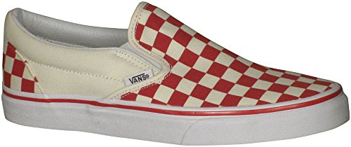 Vans uni-sex Classic Slip-On (Checker) Racing Red / White Skateboard Shoes (10 Women /+D409:D437 8.5 Men M (Unisex Racing Shoes)