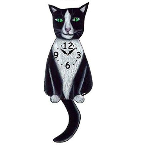 Tuxedo Cat Wagging Tail Pendulum Clock