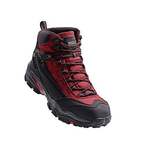 Regatta Hardwear Workwear mens Regatta Hardwear Mens Causeway Waterproof Steel Toe & Mid Safety Boot Red/Black Leather UK Size 9