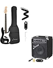 $234 » Donner DPB-510B Full-Size Full Size 4 Strings Electric Bass Guitar Sunburst Beginner Starter Kit with Bag and Bass Amp 15W Bass Guitar Amplifier DBA-1