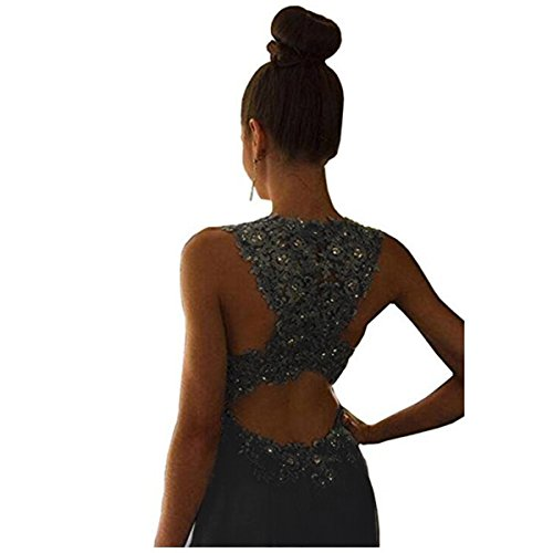 Fair Lady Gorgeous A-Line High Neck Lace Prom Dress Beading Evening Gown (2, Black)