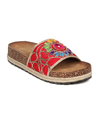 Nature Breeze Women Rainbow Flower Sandal - Embroidered Footbed Slide - Hippie Slip Espadrille Sandal - GH97 by Red (Size: 10)