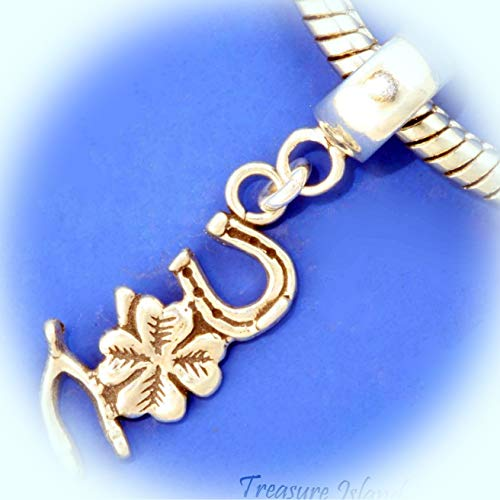 Horseshoe Clover Wishbone Good Luck .925 Sterling Silver European Bead Charm Vintage Crafting Pendant Jewelry Making Supplies - DIY for Necklace Bracelet Accessories by CharmingSS]()