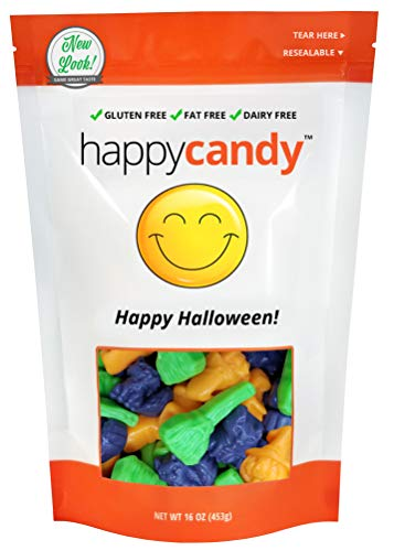 Happy Candy Spooky Gummi Witchs Brooms, Cats & Jack-O-Lanterns Mix - Happy Halloween - Gluten Free, Fat Free, Dairy Free - Resealable Pouch (1 Pound)