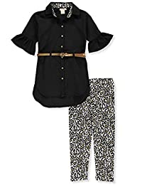 One Step Up Girls' Ruffle Leopard Belted 2-Piece Leggings Set Outfit