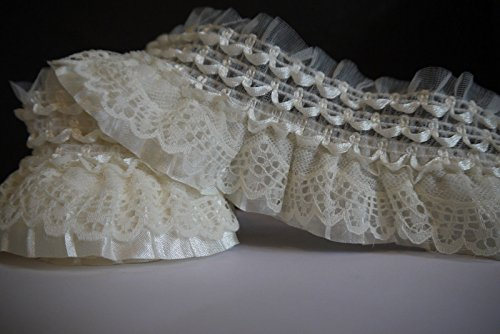 2Yards Off White Lace Gathered Elastic Pleated Satin Ribbon Trim (Beige / cream white)