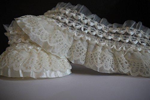 2Yards Off White Lace Gathered Elastic Pleated Satin Ribbon Trim (Beige / cream white)