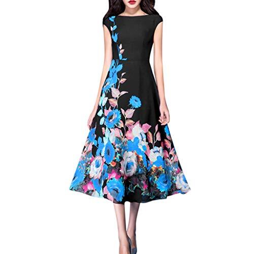 Puyujin A-Line Vintage Women Elegant Slash Neck Print Sashes Knee-Length Casual Dress