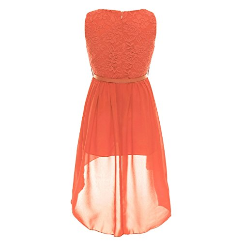Belt Girls Low Dress TiaoBug High Pageant Lace Wedding with Chiffon Princess Orange Floral 4PaZaFdwq