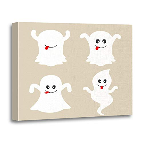 (Tinmun Painting Canvas Artwork Decorative Boo Cute Ghost Cartoon Collection Face Apparition Avatar Buster Wooden Frame 12x16 inches Wall Art for Home)