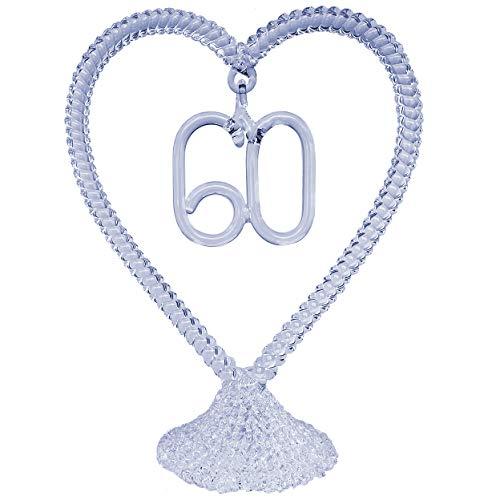 60th Anniversary Wedding Cake Topper Hand Blown Glass -