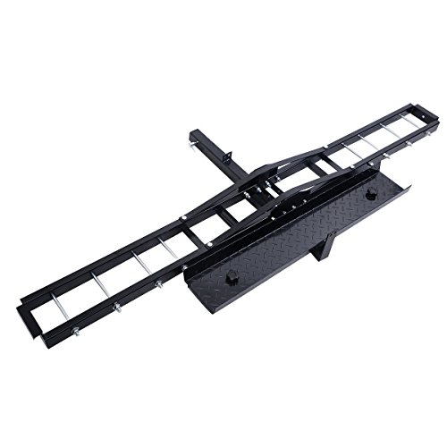 Goplus 500 lb Motorcycle Dirt Bike Scooter Carrier Hauler Hitch Mount Rack with Loading Ramp and Anti-Tilt Locking - Hitch Bike Dirt Carrier