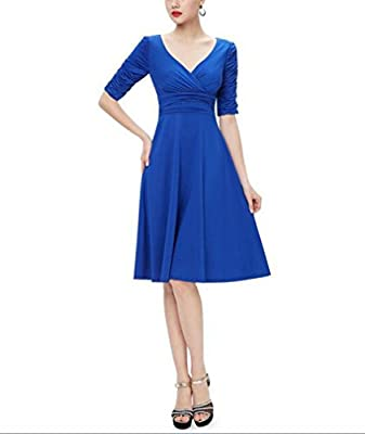 TINYHI 3/4 Sleeve Ruched Waist Elegant V-neck Casual Party Dress