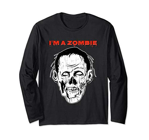 I'm Zombie Nerd Long Sleeve Tshirt For Halloween Scary Face