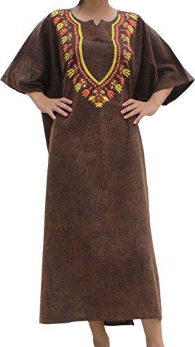 RaanPahMuang BouBou Afrikan Throw Over Dress Stonewash Cotton Embroidered Dashiki, Medium, Brown (Embroidered Dress Thai)