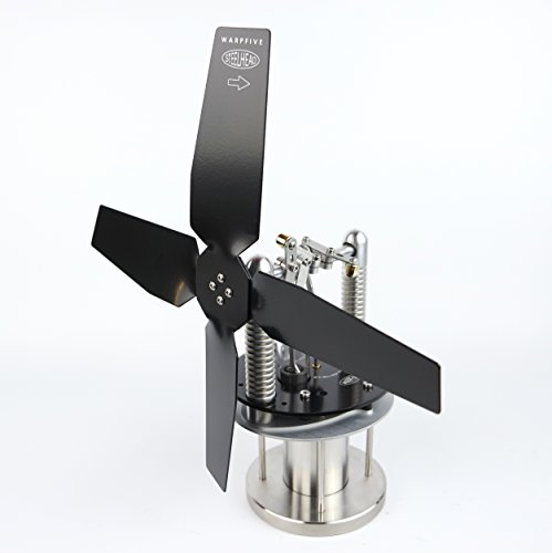 Warpfive Heat Powered Stove Top Fan for Wood Multi-Fuel Coal Steelhead Eco Stirling Engine (Wood Stoves Accessories)