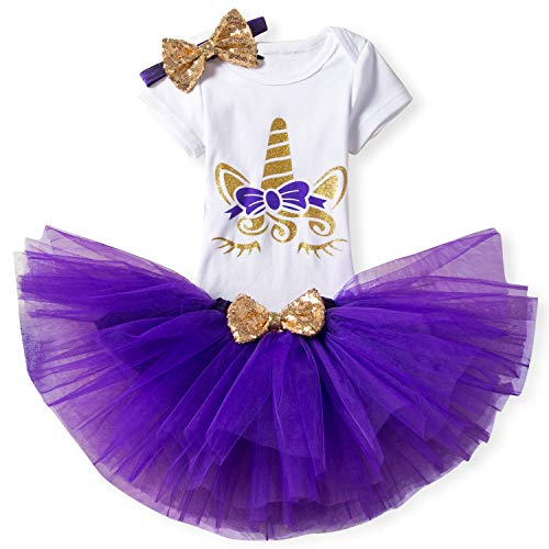 TTYAOVO Baby Girl Birthday 3pcs Unicorn Outfits with Headband & Romper & Skirts Size 19-24 Months Purple -