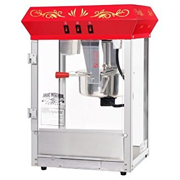 Home 83-DT5655 Northern Popcorn Company 6129 All Star GNP-850 Classic Style Top Popper Machine, 8 oz, Red, Counter Floral