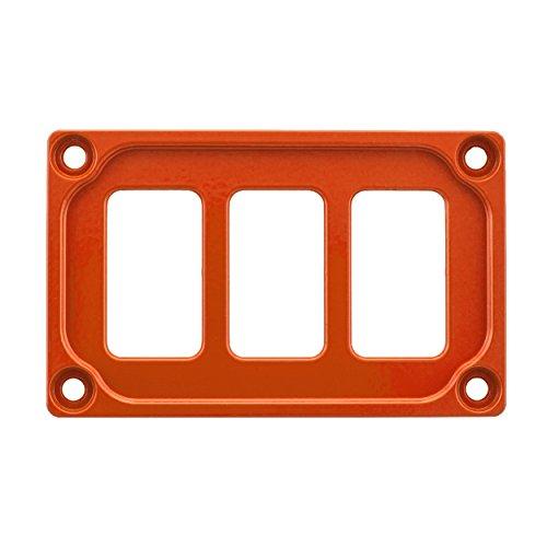 STV MOTORSPORTS Universal Switch Dash Panel Custom CNC Billet Aluminum 3 Rocker Switch Slots (Orange) by STVMotorsports
