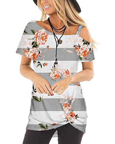 (Short Sleeve Shirts Women Summer Floral Crew Neck Knotted Tops Blouses Grey M)