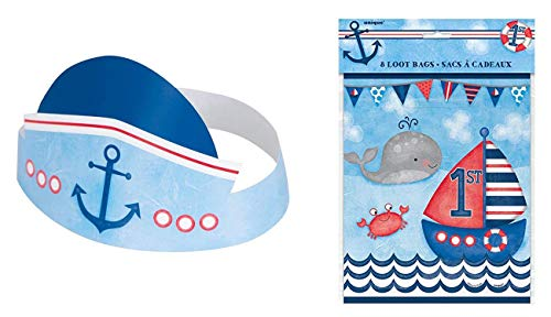 Pack of 6 Unique Industries Nautical Boys First Birthday Party Hats with Pack of 8 Unique Industries Nautical Boys First Birthday Favor -