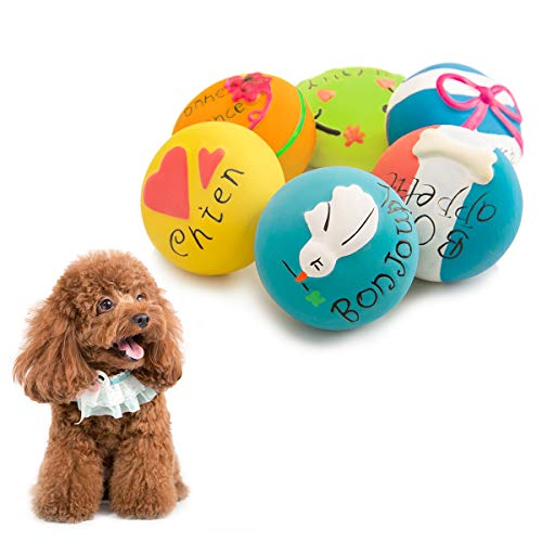 (HOLYSTEED Latex Squeaky Dog Toys, Dog Rubber Squeaky Balls, Soft Dog Squeak Toys, Dog Chewing Toy Squeaky Ball for Small, Medium Dog Gentle Chew, Chase, Fetch 6pcs/Set (6pcs Macaroon Shape))