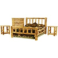 Mountain Woods Furniture Rustic Arts Collection Plateau II Bedroom Furniture Set, King, Beeswax/Linseed Oil