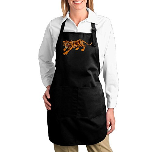 Funny Tiger Woods Costume (Dogquxio Fierce Tiger Kitchen Helper Professional Bib Apron With 2 Pockets For Women Men Adults Black)