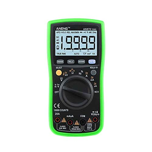 ANENG AN870 19999 Counts Auto Range Digital Multimeter NCV Ohm Meter AC DC Voltage Ammeter Voltmeter Temperature Tester (An Ammeter And A Voltmeter Of Suitable Ranges)