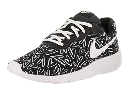 Image of NIKE Girl's Tanjun Print (GS) Shoe Black/White/Lava Glow Size 5.5 M US