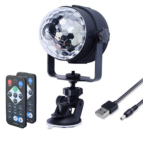 USB Powered Disco Ball Party Lights, WOWTOU RGB LED Disco light Sound Activated Strobe Light with Remote Control for Home Parties Dance Floor Kids Birthday Wedding Show DJ -